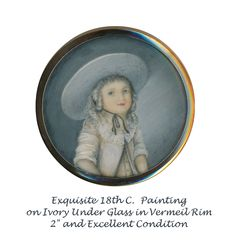 Image Copyright RC Larner ~ Button--Exquisite Georgian 18th C. Painting of Young Girl in White Under Glass ~  R C Larner Buttons at eBay & Etsy        http://stores.ebay.com/RC-LARNER-BUTTONS and https://www.etsy.com/shop/rclarner