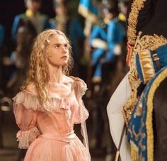 """Cinderella facing the Grand Duke on a search for the """"mystery princess"""" shortly after the ball Cinderella Live Action, Cinderella Movie, Cinderella 2015, Cinderella Dresses, Disney Live, Disney Magic, Walt Disney, Lily James, Ben Chaplin"""