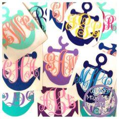 Monogrammed Anchor Decal for Car, Laptop, Tablet - 4 in x 3 in Custom Nautical Sticker - Sorority Gift Mom Friend Sister Hostess Teacher