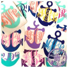X Monogrammed Anchor Decal For Car Laptop Tablet Custom - Anchor custom vinyl decals for car