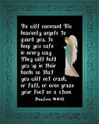 His Heavenly Angels - Cross Stitch Kit - Psalms Psalm 91 Prayer, Psalm 91 11, God Prayer, Psalms, Cross Stitch Kits, Cross Stitch Designs, Cross Stitch Patterns, Heavenly Angels, Angels In Heaven