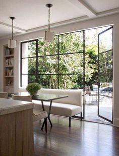 Home Interior Salas .Home Interior Salas Steel Windows, Windows And Doors, Door Design, House Design, Wall Design, Hill Interiors, Living Room Windows, Floor To Ceiling Windows, Room Doors