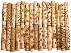 """Rollers for marking clay.  Made of maple wood, 4"""" long and 3/4"""" diameter both stock designs and custom cut rollers made by www.4clay.com"""