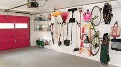 Keep your parking spot clear and hang tools, bikes, and everything else with hooks.