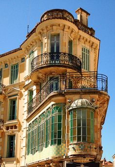 Cannes, French Riviera, France.  Can't tell if this is an apartment building, private home or a hotel.  Love the colors.