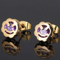 9mm 18K Gold Plated Fashion Smile Face Shaped Inlay Ziron Women Ladies Copper Earrings