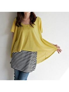 Yellow Short Sleeve Smock with Long Striped Vest