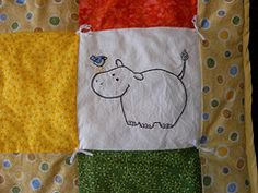 Hippo - Quilt square close-up - Hand embroidered #embroidery #quilt