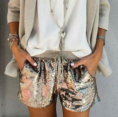 Love this nonchalant outfit with these shimmering shorts. #repost @sheldona357