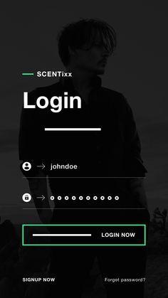 Scentixx login ui design ios app ux