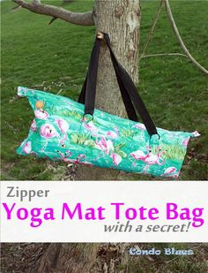 Condo Blues: Zipper Yoga Mat Tote Bag Tutorial How to make a yoga mat tote bag with lining, a zipper, pockets, and the best thing ever a car key hook!