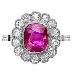 Edwardian Cushion Cut Ruby Platinum Ring with Diamond Surround