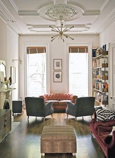 Good idea for bookshelves in hallway that are open so won't block window