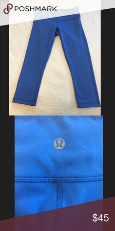 Lululemon reversible cropped pants Reversible lululemon workout pants, black, and blue. These are worn and I would rate the condition 6/10 but are still great, just have some pilling. lululemon athletica Pants Leggings