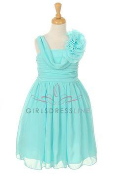 Aqua Yoru Chiffon Short Flower Girl Dress B1104-AQ B1104-AQ $37.95 on www.GirlsDressLine.Com
