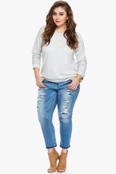 Plus Size Whisper Crochet Back Sweatshirt | Fashion To Figure