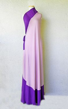 Madame Gres circa 1970's dramatic rich violet purple and soft pink fashioned in a two color-way silk pattern and bias cut with a soft fluid drape to the body.