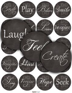 Inspirational Words 1/2 1 2 12mm 25mm 50mm circles  by DGImage
