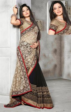 Picture of Stylish Off White, Beige and Black Color Saree