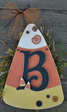 """Big Letter"" Candy Corn Sign. Designed with the Letter of your choice. A perfect decoration for years to come!"