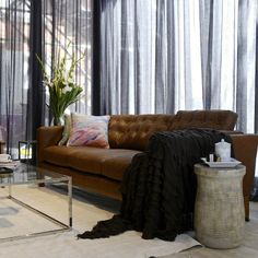 All the rooms from The Block living/dining reveals - The Interiors Addict Sheer Curtains Bedroom, Sheet Curtains, Grey Curtains, Home Living Room, Living Spaces, Trendy Home, Cozy Living, Home Decor Inspiration, Home Furnishings
