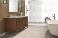 Checkout this redesign I did of my room using the Emser Tile visualizer! White Tile Shower, White Tiles, Vanity, Bathroom, Shower Ideas, Dressing Tables, Washroom, Powder Room, Vanity Set
