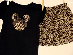 SALE Disney Inspired Minnie Mouse Outfit - Baby Toddler Girls -Wild Thing Leopard Cheetah - Perfect for Disney Trips/Gift- Brother Shirt. $30.00, via Etsy.