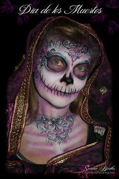Sugar skull make up with scary mouth. skull make up creepy makeup. Halloween costume. halloween.