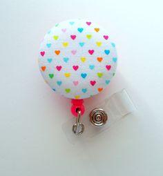 Rainbow Hearts - Name Badge Holder - Retractable ID Badge Reel - Cute ID Badge Clip - Badges - Fabric Badge Pull - Pediatric Badge Id Badge Clip, Id Badge Reels, Fabric Covered Button, Covered Buttons, Pink Belt, Name Badges, Little Fashion, Rainbow Heart, Badge Holders