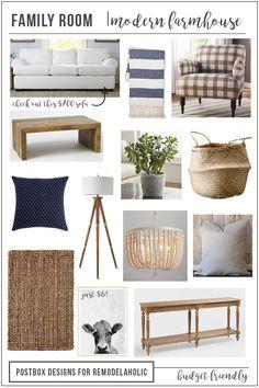 Modern Farmhouse Family Room Mood Board | Budget-friendly | Home Decor