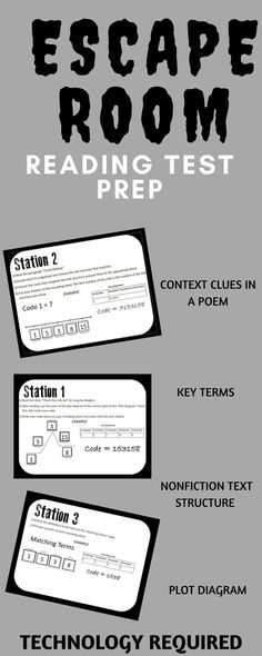 Escape room style reading test prep. Includes context clues station, non-fiction text structure, plot diagram practice, and practice with common reading vocabulary terms. This interactive escape room requires technology. This is a great form of test prep for any middle school ELA state test.