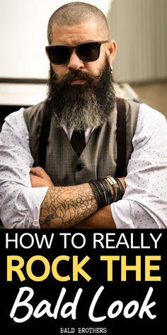 Bald Head With Beard, Bald Men With Beards, Bald Man, Beard Bald, Moustache, Bald Men Style, Bald Look, How To Look Better, That Look