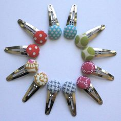 Button hair clips-cool can make them to match outfits by covering with same fabric