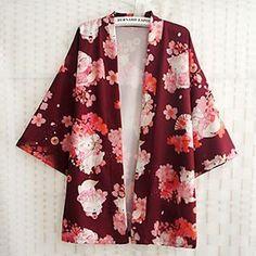 Cherry Blossom Print Kimono Jacket