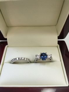 Ceylon sapphire and diamond engagement ring with matching wedding ring hand made by diamondline jewellery