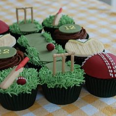 Box Of 12 Personalised Cupcakes.I love how the theme is incorporated across all 12 cupcakes Cupcakes For Men, Themed Cupcakes, Pink Cupcakes, Cricket Theme Cake, Cricket Birthday Cake, Birthday Cakes, Cupcake Recipes, Cupcake Cakes, Cup Cakes