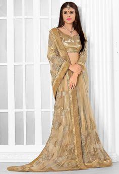 Elegant Beige Designer Saree