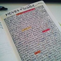 Movies to Watch list - The colors are the movie's IMDb score #bulletjournal…