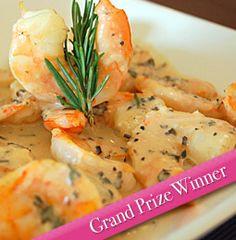 Charcoaled Shrimp in Asiago Caesar Sauce