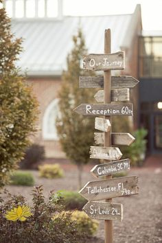 My favorite thing from our wedding. Dillon made a sign to the reception with all of the places that we have lived (all, but one have been during our relationship). He used the wood from old pallets and whatever white paint he could find around his parents' house. He rocks. Photo by: www.kshdesignsonline.com