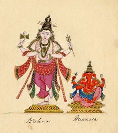 Śiva stands on a low pedestal, his right foot slightly raised, with Gaṇeśa sitting on an asana (throne) to his left. Company School, Tamil Nadu, c.1820
