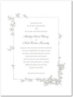 "I love this naturey whimsical design: ""Garden Simplicity"" Thermography Wedding Invitations by Wedding Paper Divas"