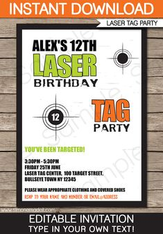 Type Your Own Text Into This Green Orange Laser Tag Party Invitations Decorations Package INSTANTLY DOWNLOAD Digital PDF File That You Personalize