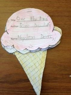 Ice Cream Flip Up Book Report:  Staple ice cream scoops together to create an ice cream flip book project for your students.