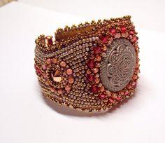 Bead Embroidery Bracelet   OOAK    Seed bead bracelet  Antique metal button Bronze Pink Rosegold  Swarovski