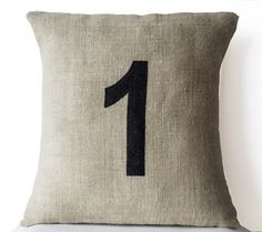 Burlap Number Pillows Customized Hand Painted Numeric Pillows Personalized Dorm Cushion