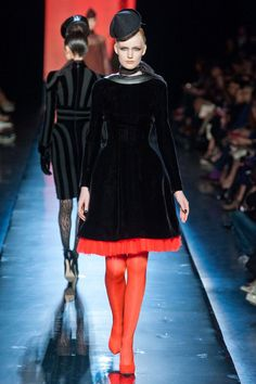 So so sooo cute, from the corseted waist to the coral-colored under-skirt (Jean Paul Gaultier, Fall 2013 Couture)