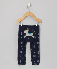 Take a look at this Navy Winter Deer Leggings - Infant by Lucy Leggings on #zulily today!