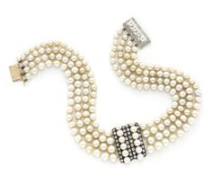 A Natural Pearl and Diamond Collar Necklace, by Rene Boivin, circa 1910