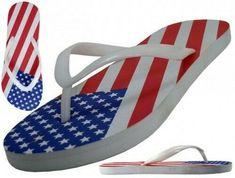 9b4eef40f052e4 Details about Womens U.S. Flag Print Summer Flip Flops
